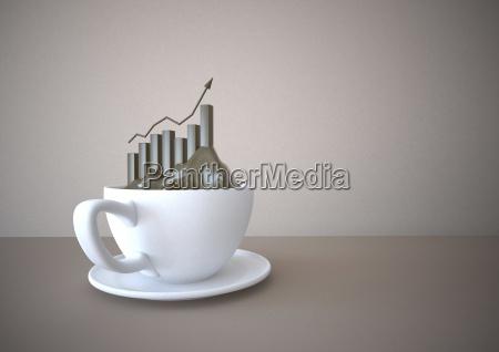 kaffeetasse, mit, erfolg, diagramm, illustration - 16355497