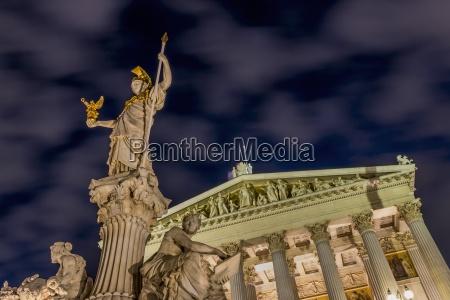 austria vienna view to lighted parliament