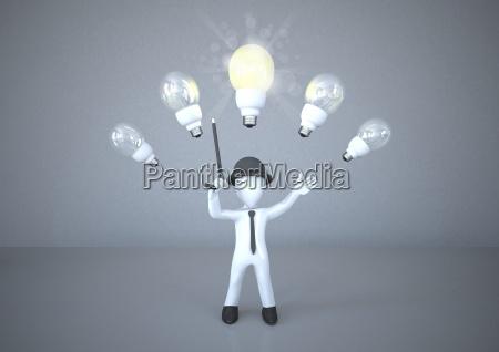 white manikin with bulbs over
