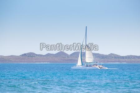 catamarans cruising the blue sea