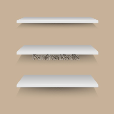 white shelves on brown wall