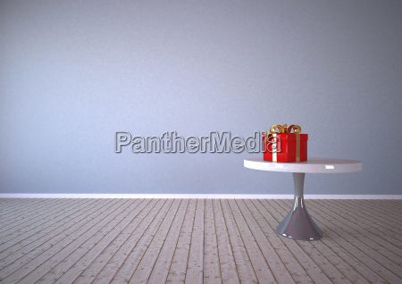 red gift box on table 3d