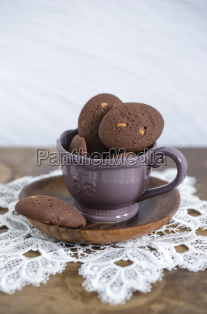 cup of chocolate cookies with chunks
