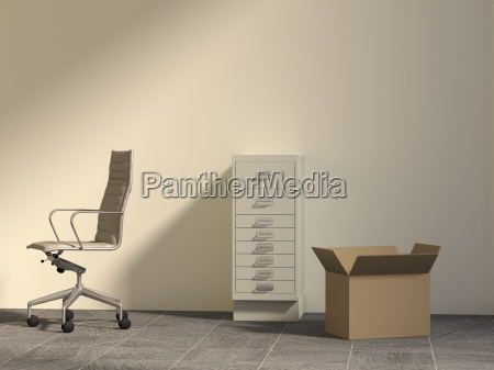 office chair drawer cabinet and cardboard