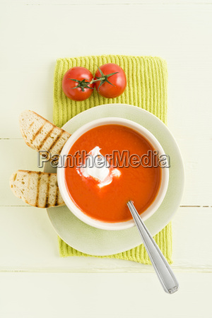 tomato cream soup with baguette