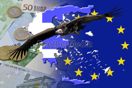 vulture over euro notes and coins