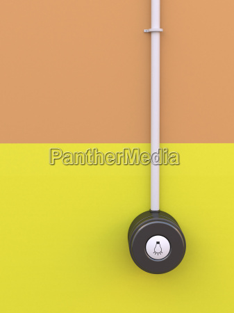 lichtschalter, mit, symbol, auf, gelb-orange, wand, 3d-rendering - 16915062