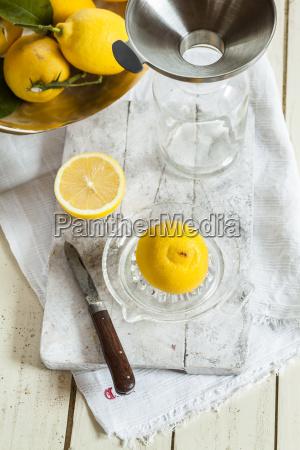 fresh lemons in squeezer for