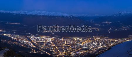 austria tyrol innsbruck cityscape at night