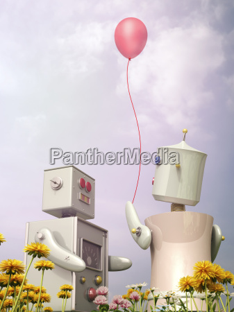 male and female robot standing with