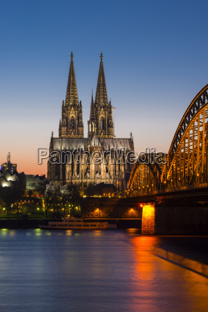 germany cologne lighted cologne cathedral and