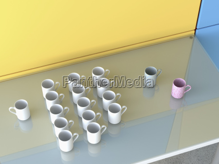 different coffee cups on glass table
