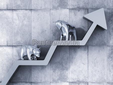 bull and bear standing on upward