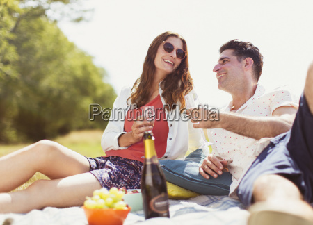 couple drinking champagne on picnic blanket