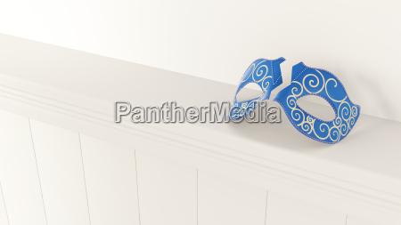 3d rendering broken blue venetian mask