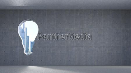 3d rendering window in bulb shape