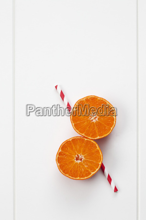 two halves of a tangerine and