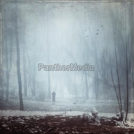 germany man walking in winter forest