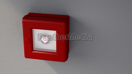 fire alarm with shining heart on