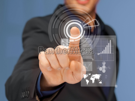businessman in suit pressing virtual button