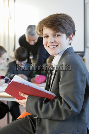 portrait smiling middle school student with