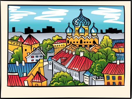 vector night medieval old town tallinn