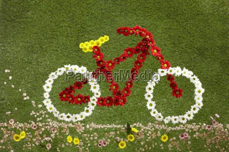ein fahrrad aus blumen auf gras