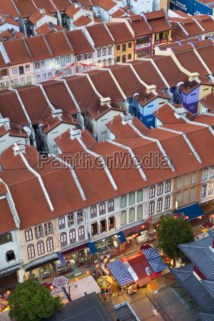 elevated view over traditional houses in