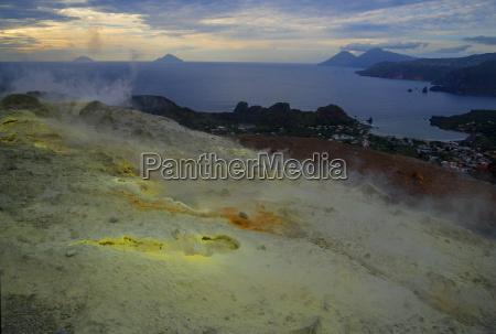sulphur and fumaroles smoke on volcano