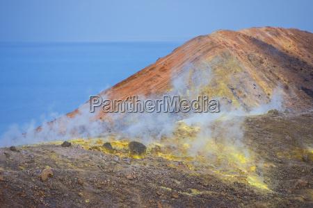 sulphur and fumarole smoke on volcano