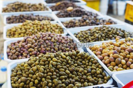 olives in fresh produce market fethiye