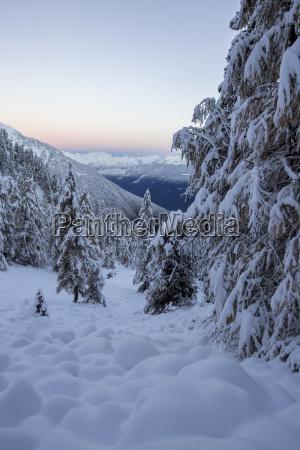the autumn snowy landscape casera lake