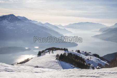 winter view of lake como vercana