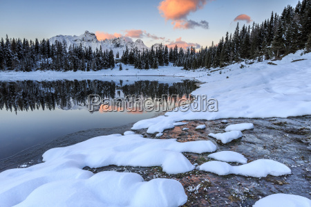 woods and snowy peaks are reflected
