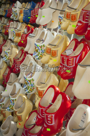 clogs on display in a tourist