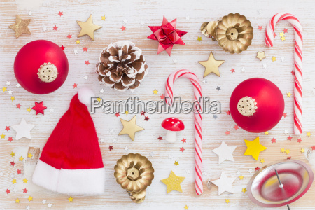 christmas decoration flat lay