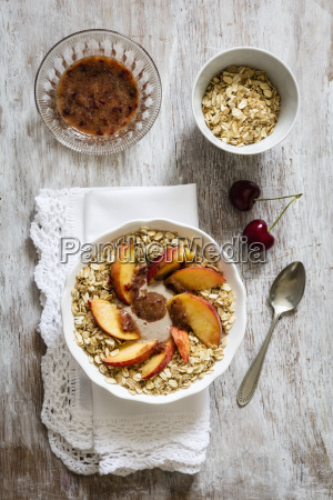 cherry smoothie bowl with peach and