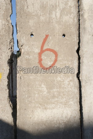 number 6 on wall