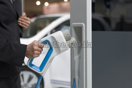 electric vehicle charging close up