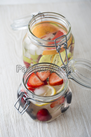 two jars of cooled water flavoured