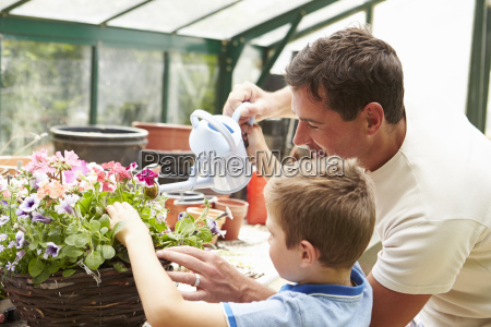 father and son watering plants in