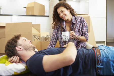 couple taking a break during house