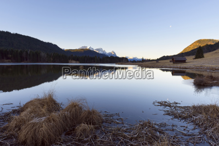 landscape reflected in geroldsee in morning