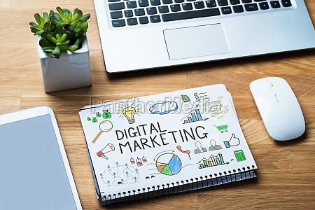 notepad showing digital marketing diagram on