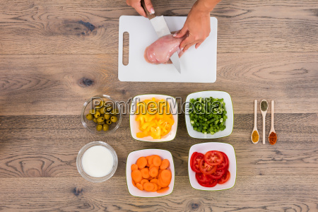 person cutting meat on chopping board