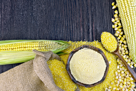 flour and grits corn with bag