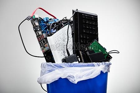hardware equipment in dustbin