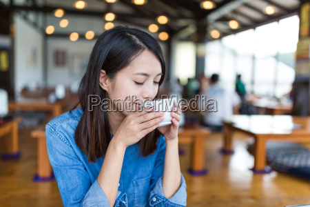 woman drink a cup of tea
