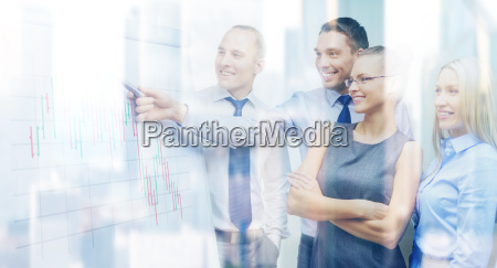 business team with flip board having