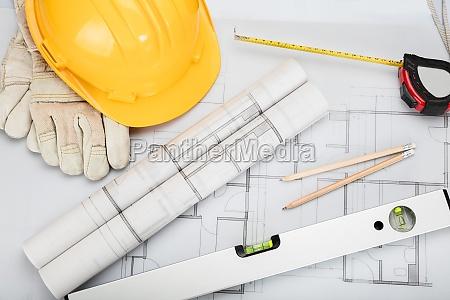 architectural equipment on desk